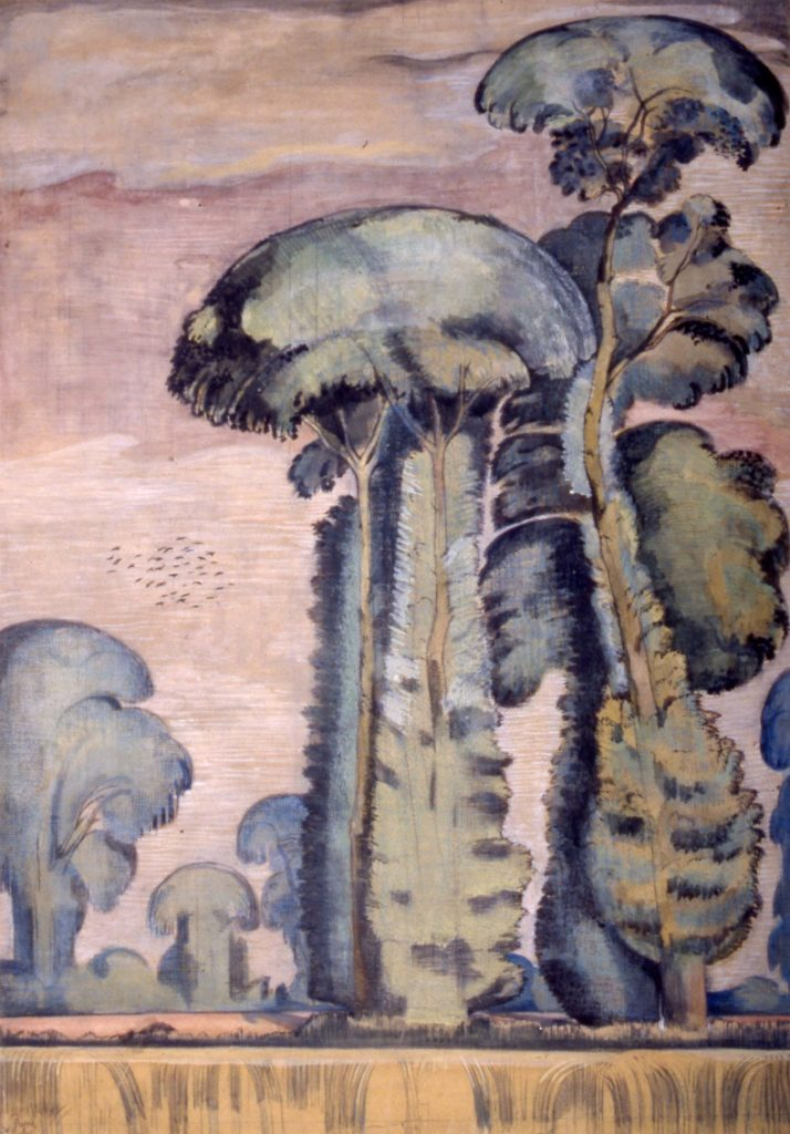 a painting of a tall elm tree