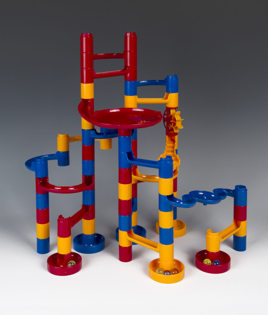 photograph of brightly coloured marble run toy
