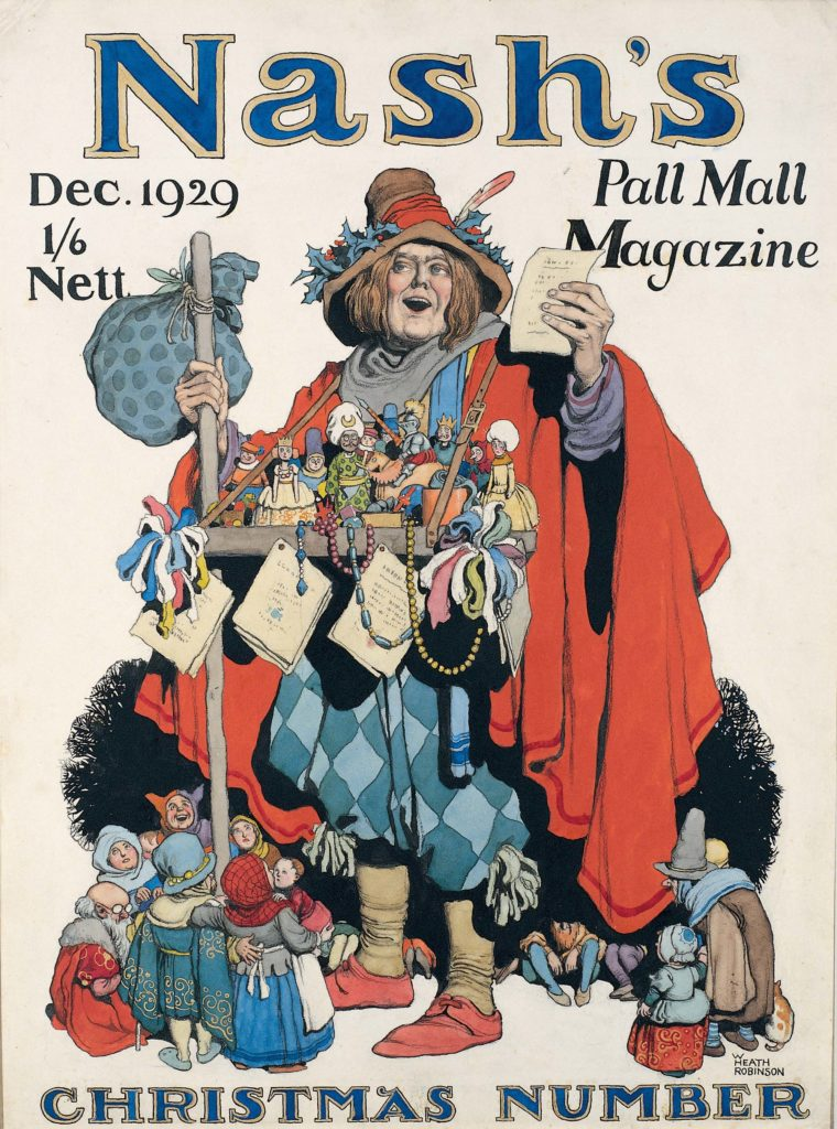 a cover design for a magazine with a toy seller selling figures from a tray with small people crowded around his ankles