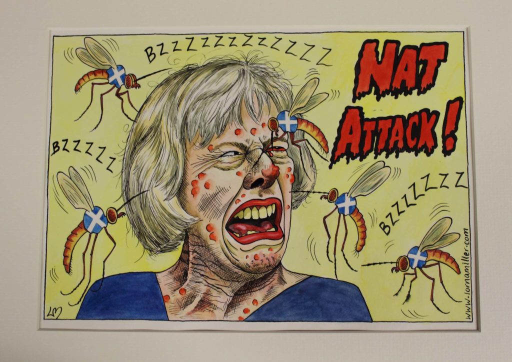 a cartoon with Theresa May being repeatedly stung by bees carrying Scottish flags