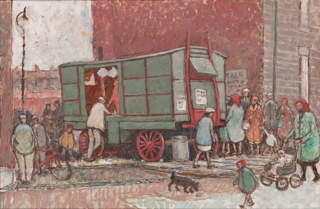 a painting of a chip van with kids and people in headscarves flat caps etc milling around
