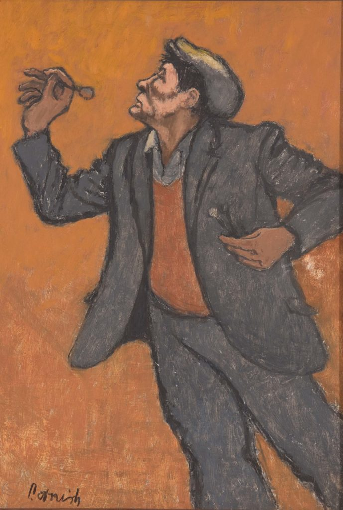 a painting of a flat capped man in an old suit jacket throwing a dart