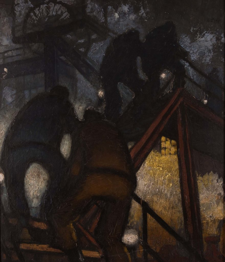 a painting of shadowy men climbing a stairway with pit head gear in the background