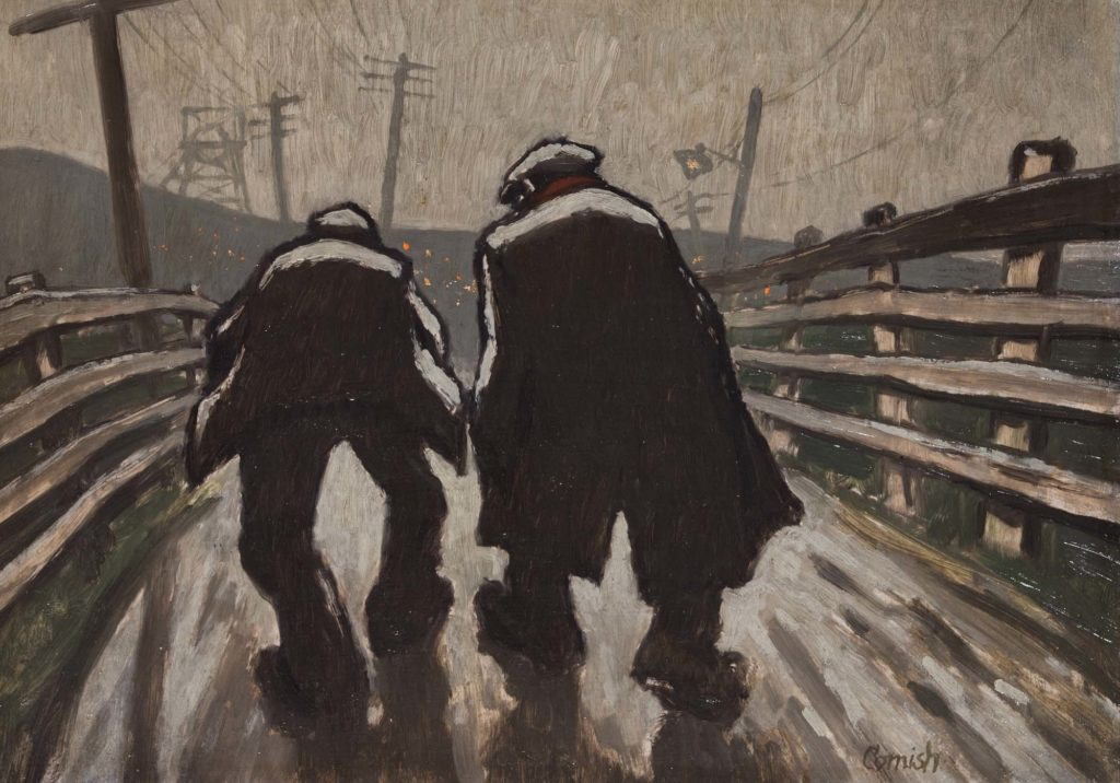 a paintig showing the rear of two clothe capped and coated hunched figure making their way down a road