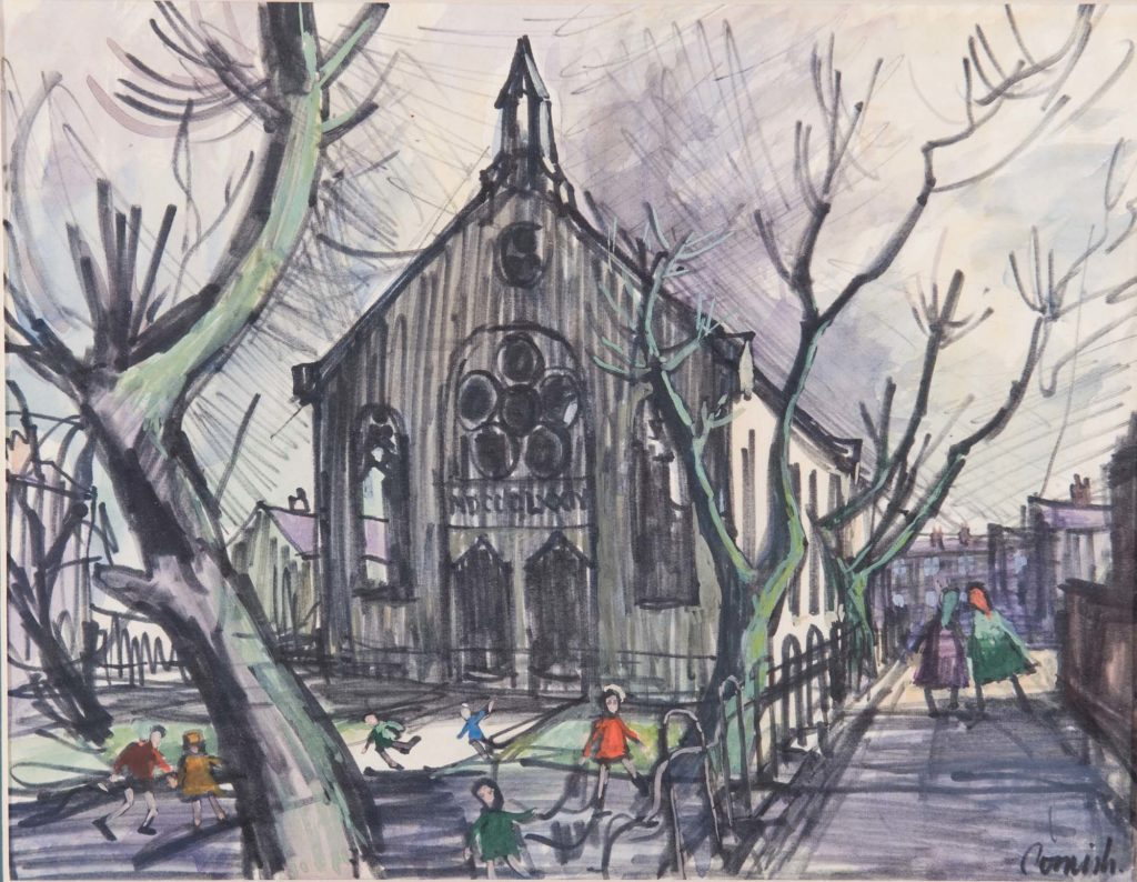 a painting of a an apex roofed church with winter trees and children playing in the foreground
