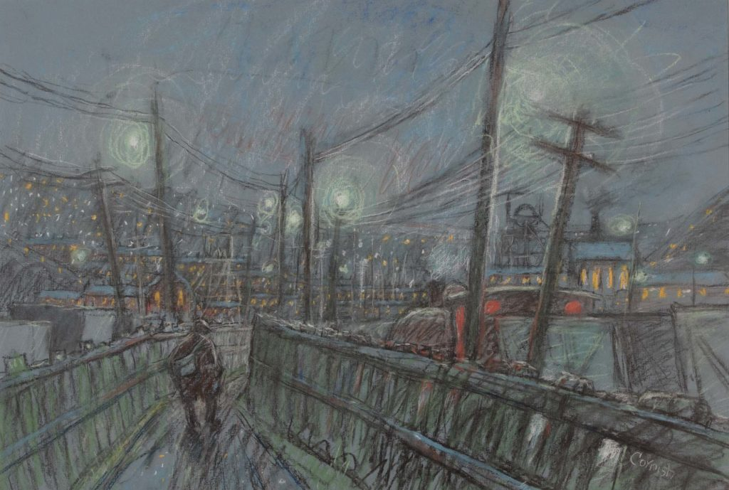 a painting of a line figure walking through a grey landscape of telegraph poles and wooden fences
