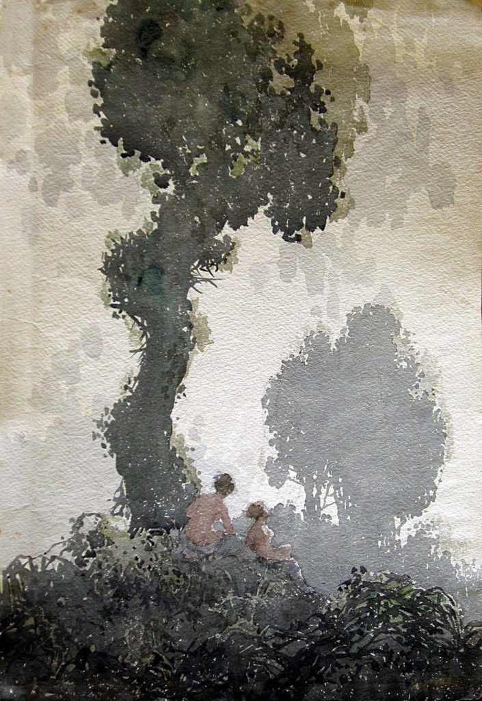 a watercolour depicting two naked females under an ivy tree in the middle distance
