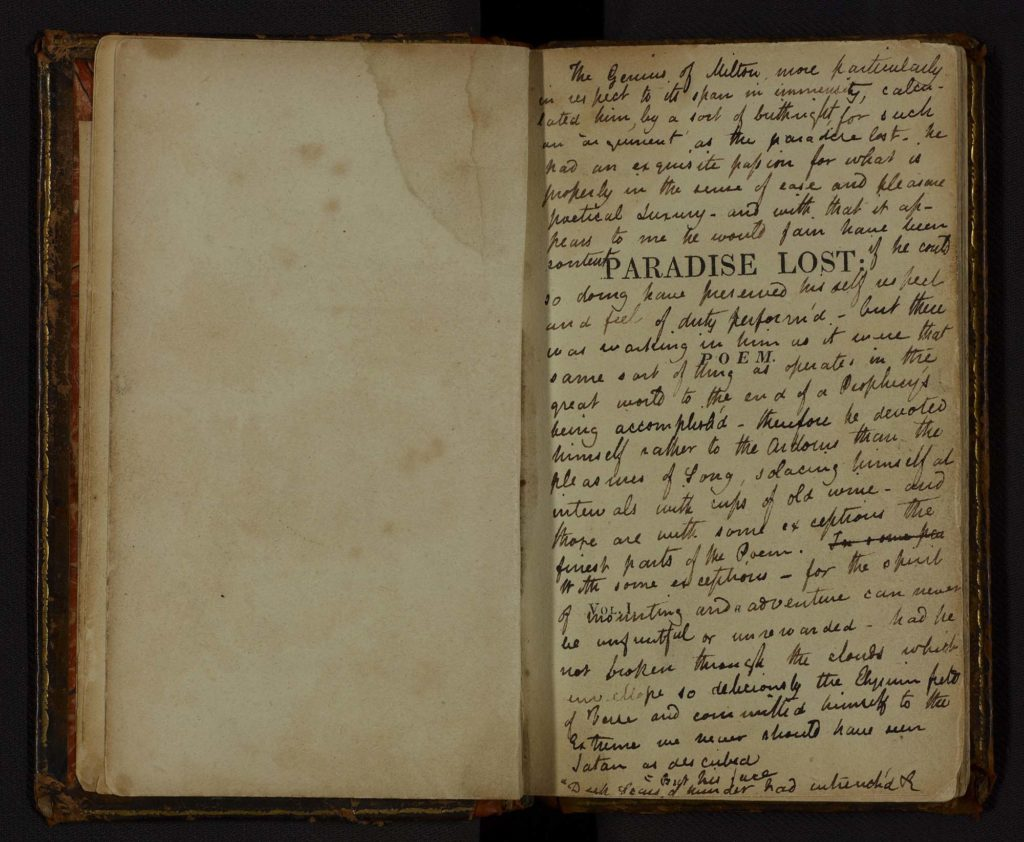 a photo of the title page of Milton's Paradise Lost with handwritten notes all over it