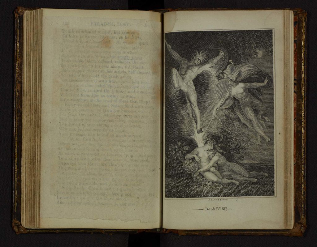 a photo of a open book with an engraving of Adam and Eve flanked by Satan and angels