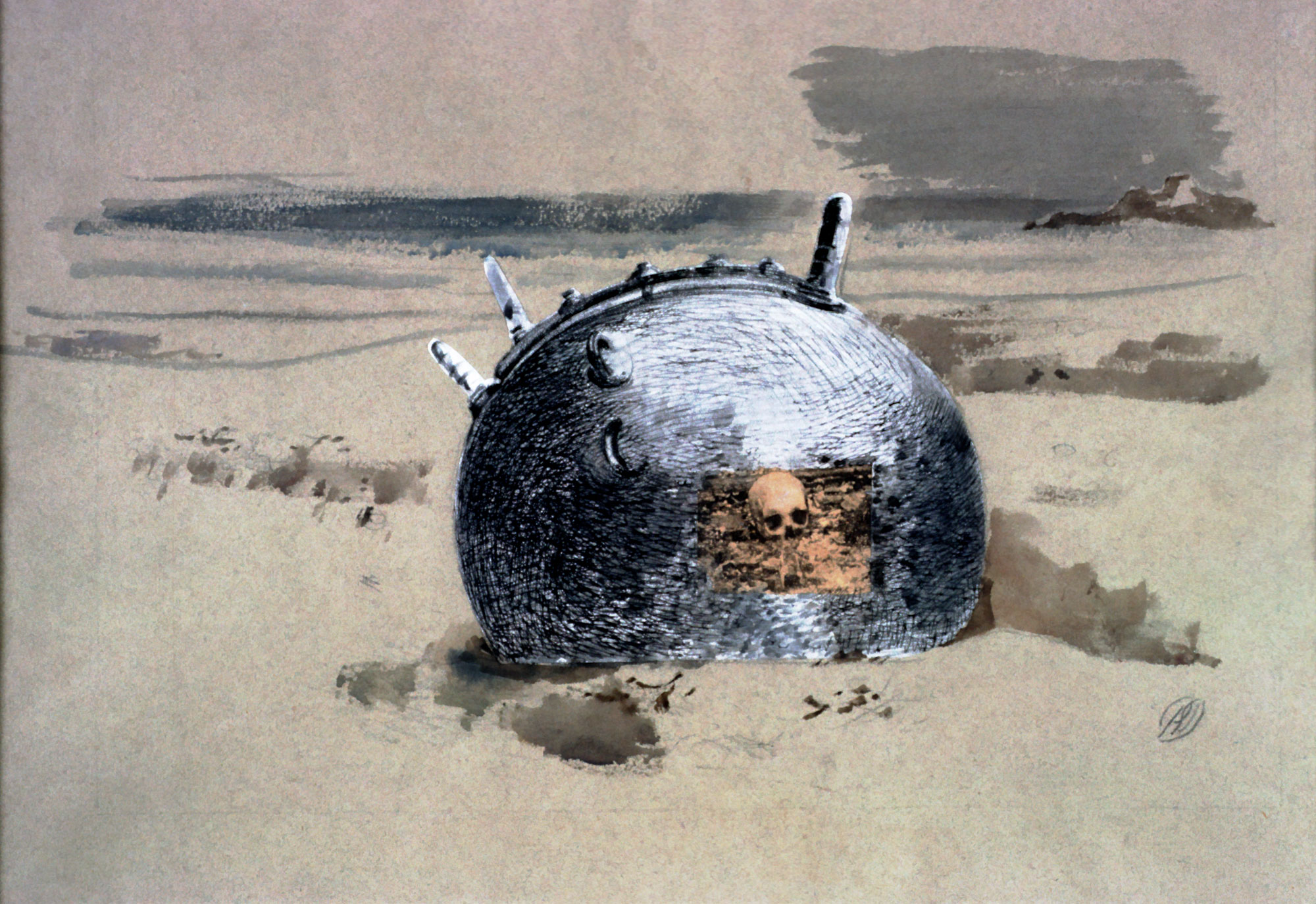 a painting showing a a sea mine with the image of a skull peering from its centre