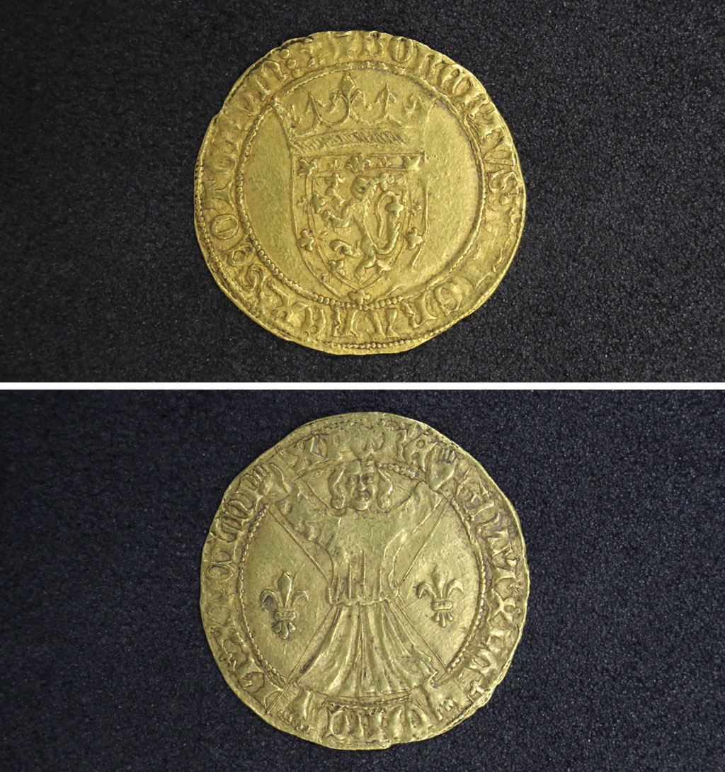 a composite photo of a gold coin with Scottish lion motif