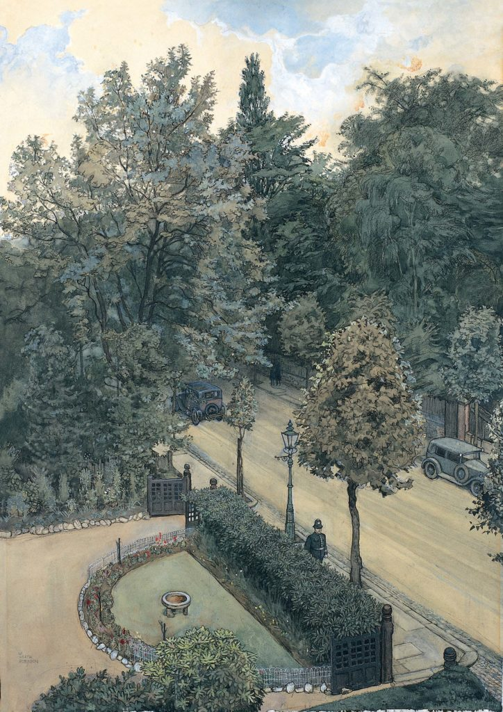 an illustration of a street lined with trees with a policeman walking along it
