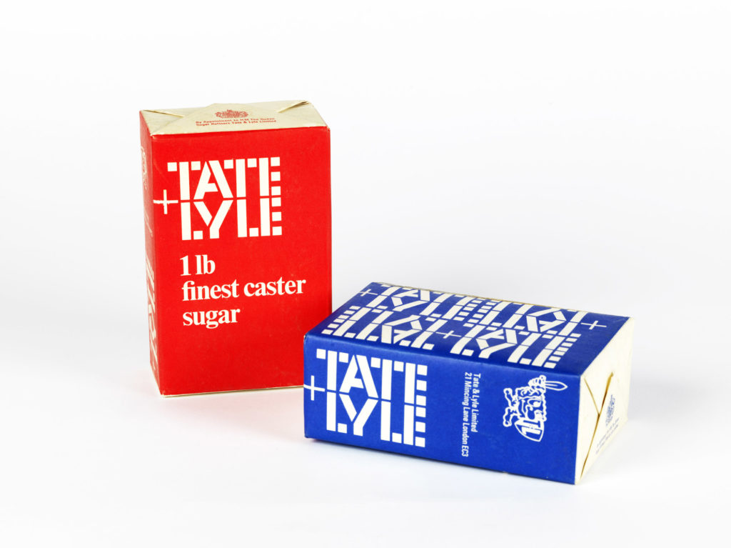 photograph of tate + lyle sugar packages in red and blue