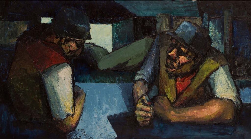 a painting of two miners in a mine shaft