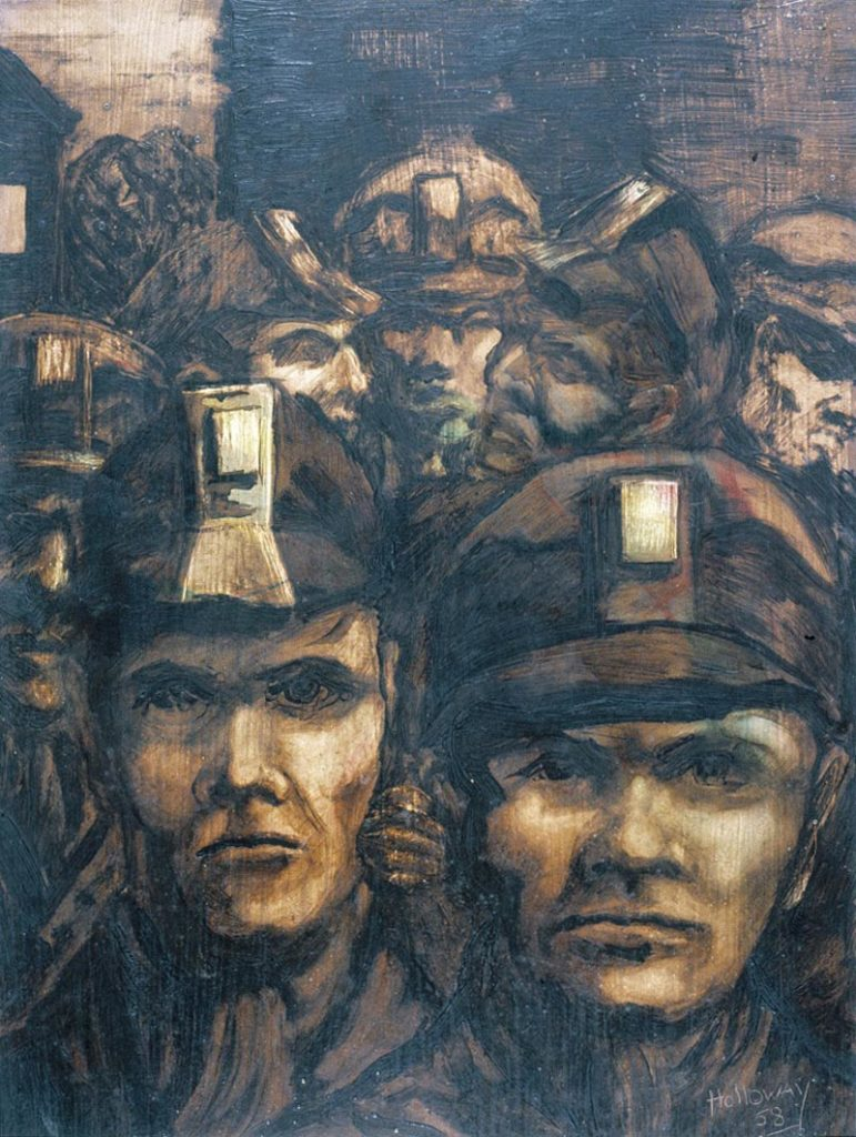 a painting showing a selection of miners' heads