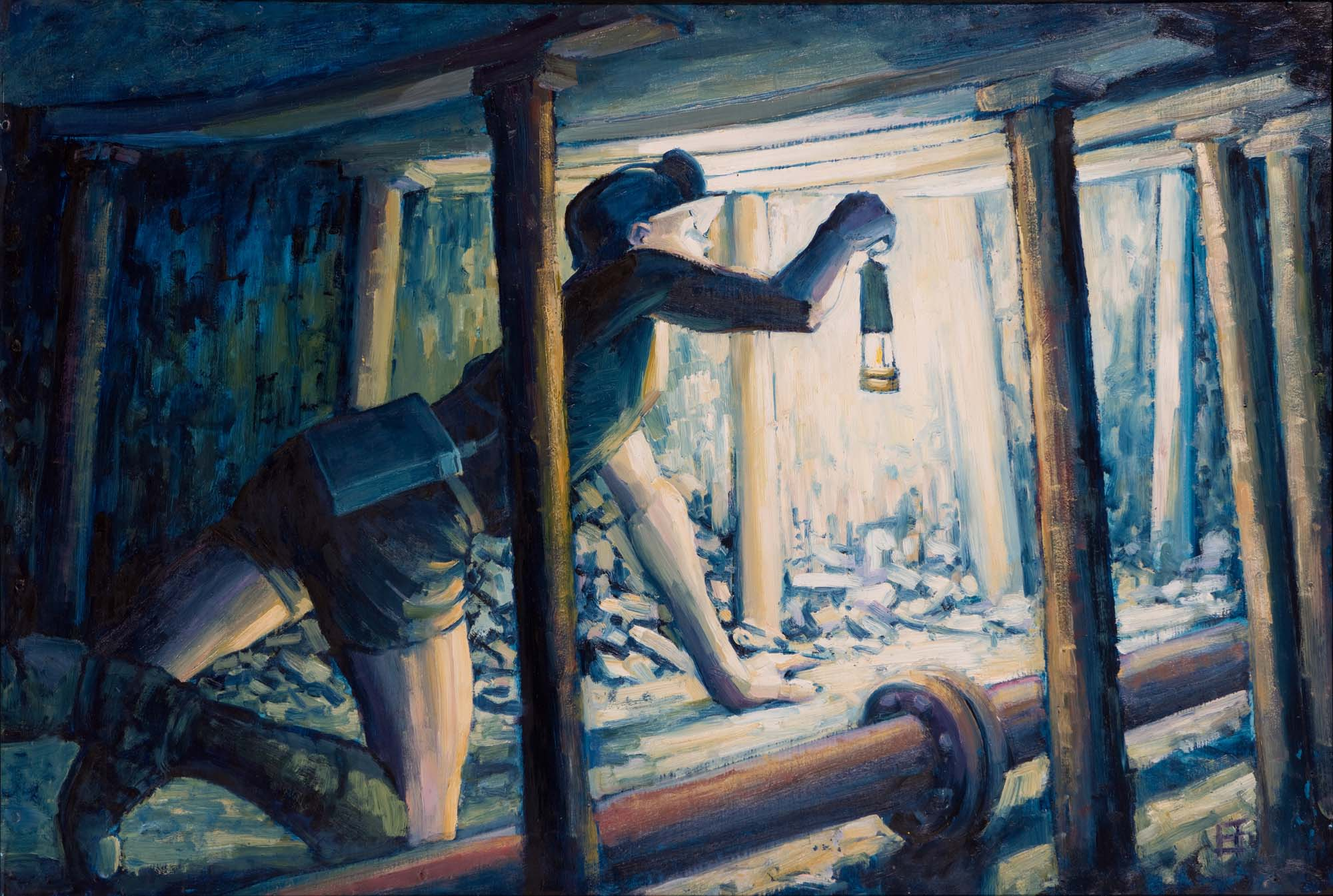 a painting of a miner on his hands and knees in a mine shaft holding up a lamp