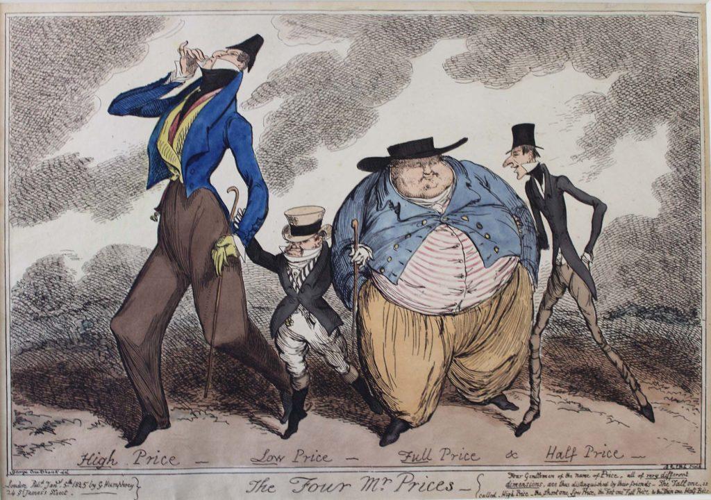an old satrical cartoon showing a thin man, a tall man, a short man and a fat man