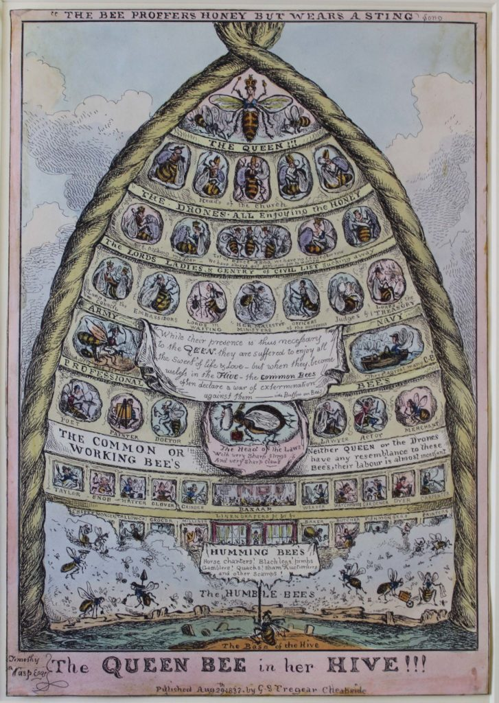 a complex drawing of a hive with bee at the tip and various lords and ladies with worker bees at the bottom