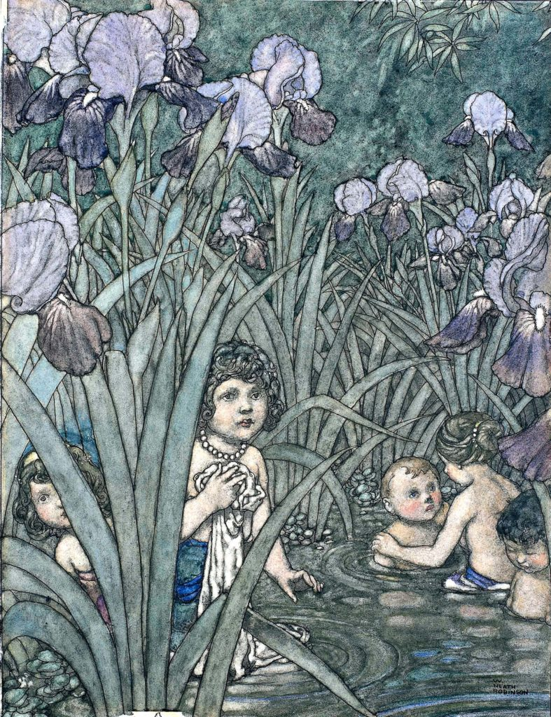 an illustration of small children and babies peering through the reeds at the corner of a riverside