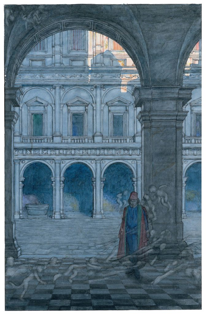 an illustration of an archway ad courtyard and a figure in the foreground