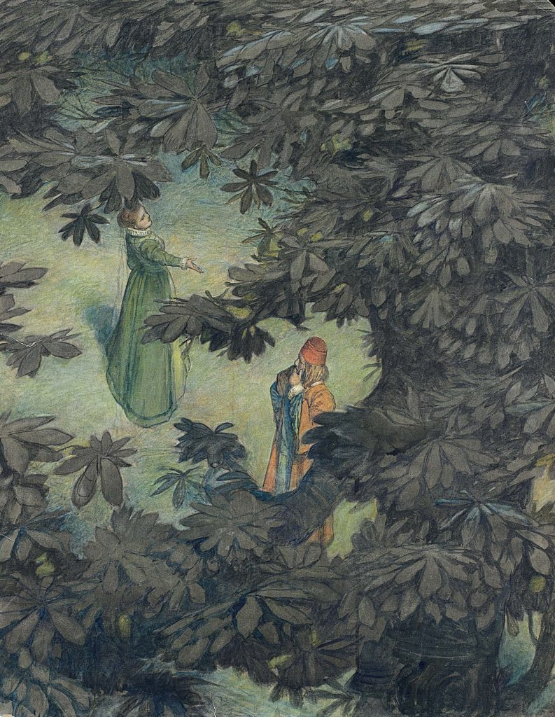 an illustration showing an elevated view of a couple seen through a break on a tree leaf canopy