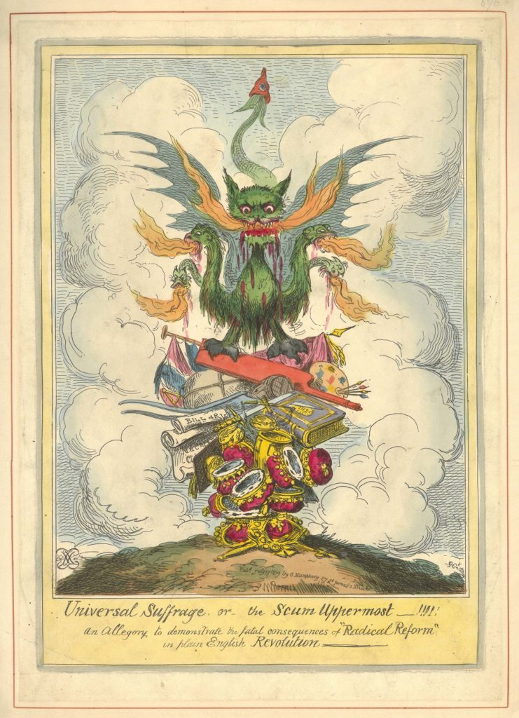 a complex cartoon showing a devil figure representing different elements of the people