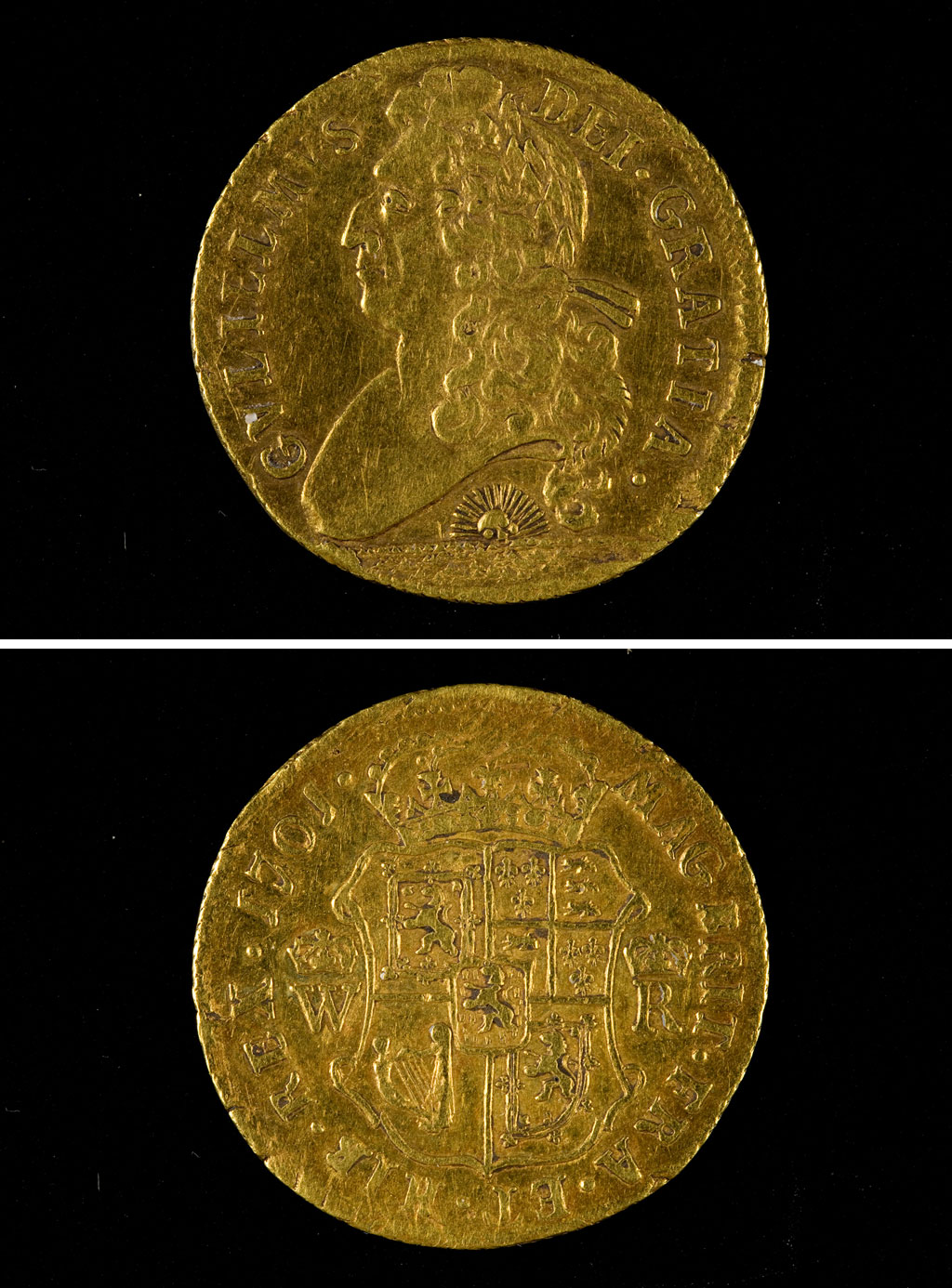 a photo of both sides of a gold coin with the side profile of a king with a hooked nose