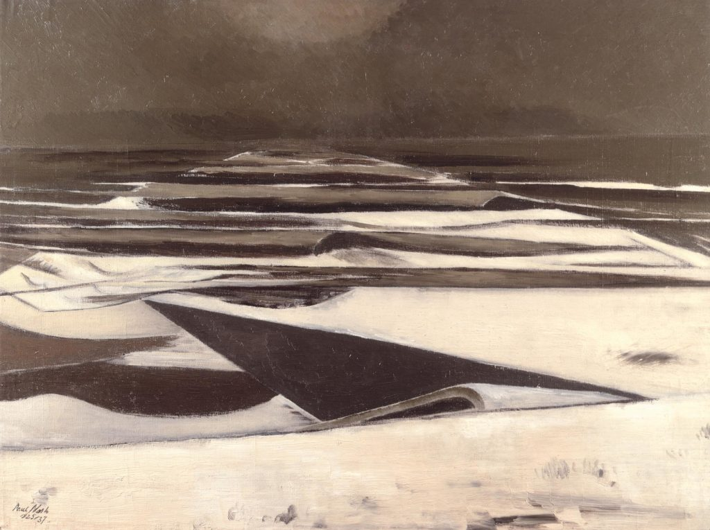 a painting showing a sea reprsented by now-covered interlocking plates