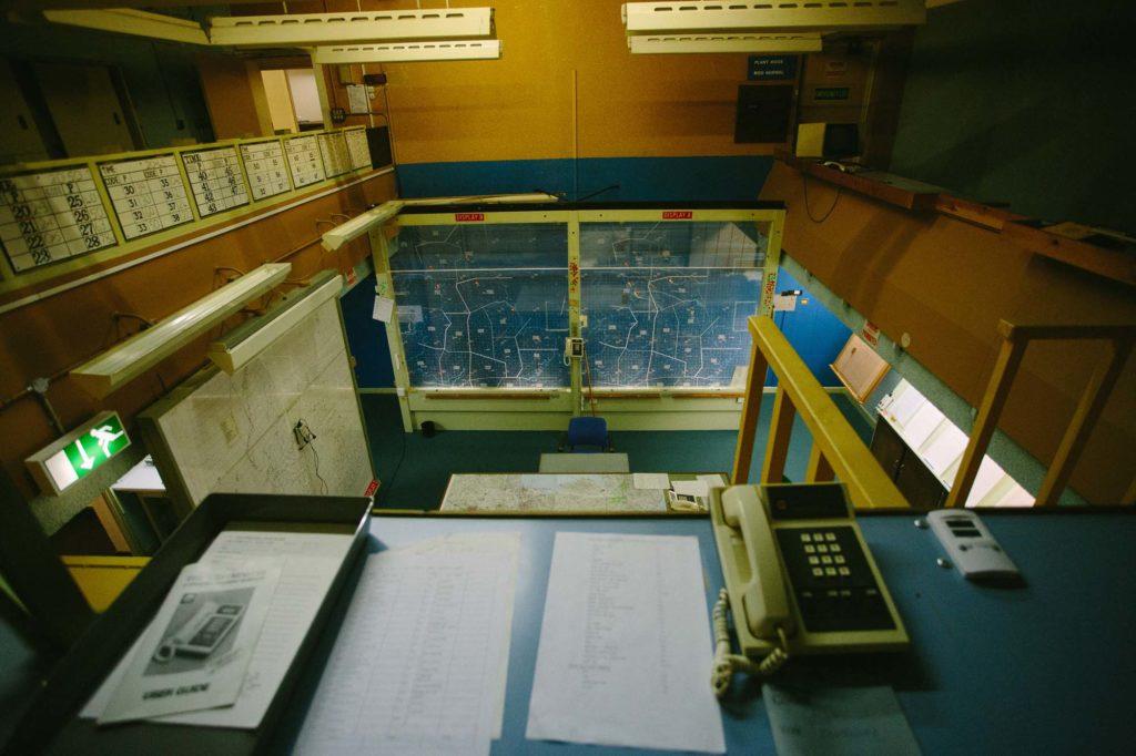 photograph of interior of cold war-era bunker