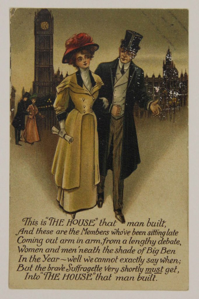 a pro-Suffragette postcard showing a man and woman arm in arm outside the Houses of Parliament