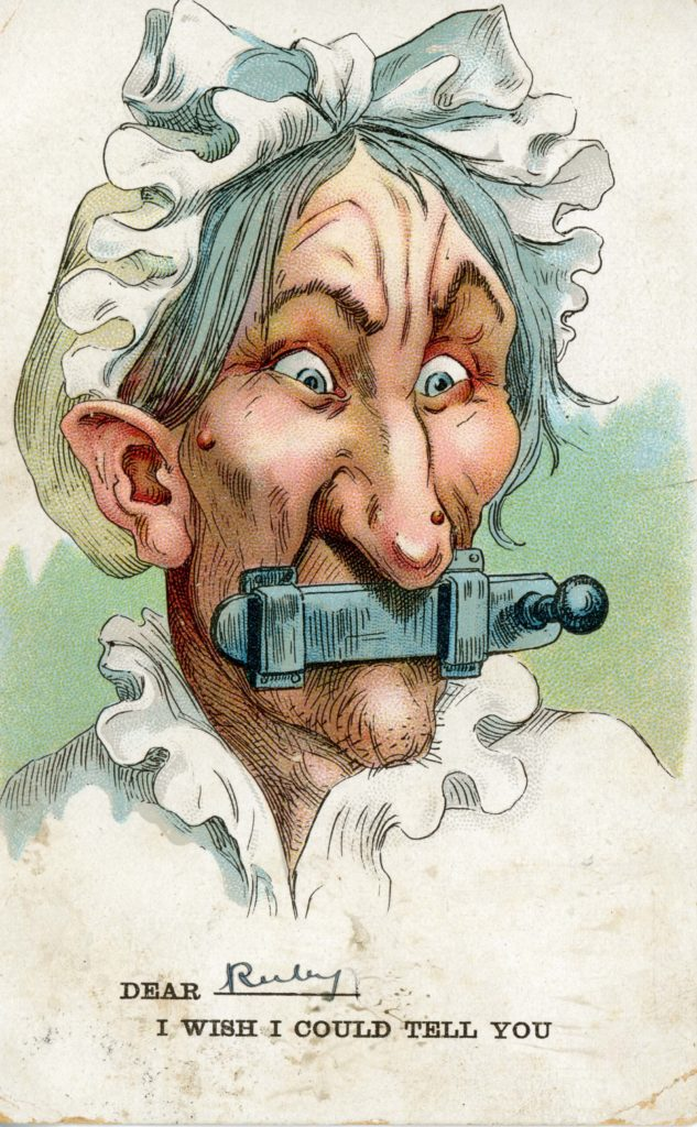 an anto suffragette postcard showing a woman with a latch across her mouth
