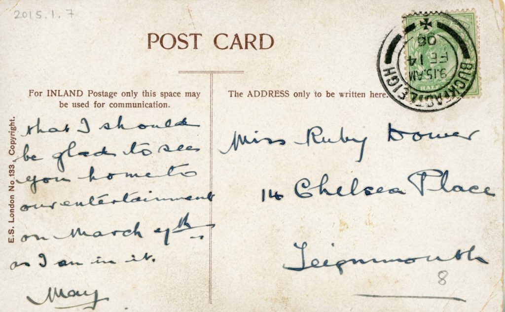the reverse of an anti suffragette postcard