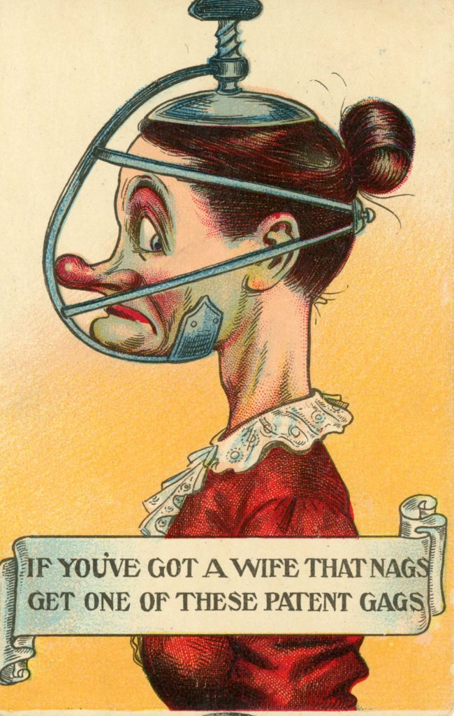 a anti suffragette caricature postcard of a woman with a vice contraption on her head