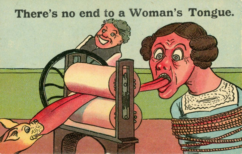 a caricature anti Suffragette postcard showing a woman's tongue being dragged through a mangle as a dog grabs it and a man laughs in the background