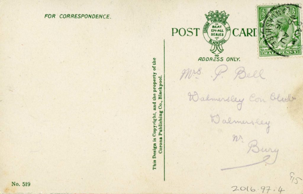 a photo of the reverse of a postcard with a address but no greeting