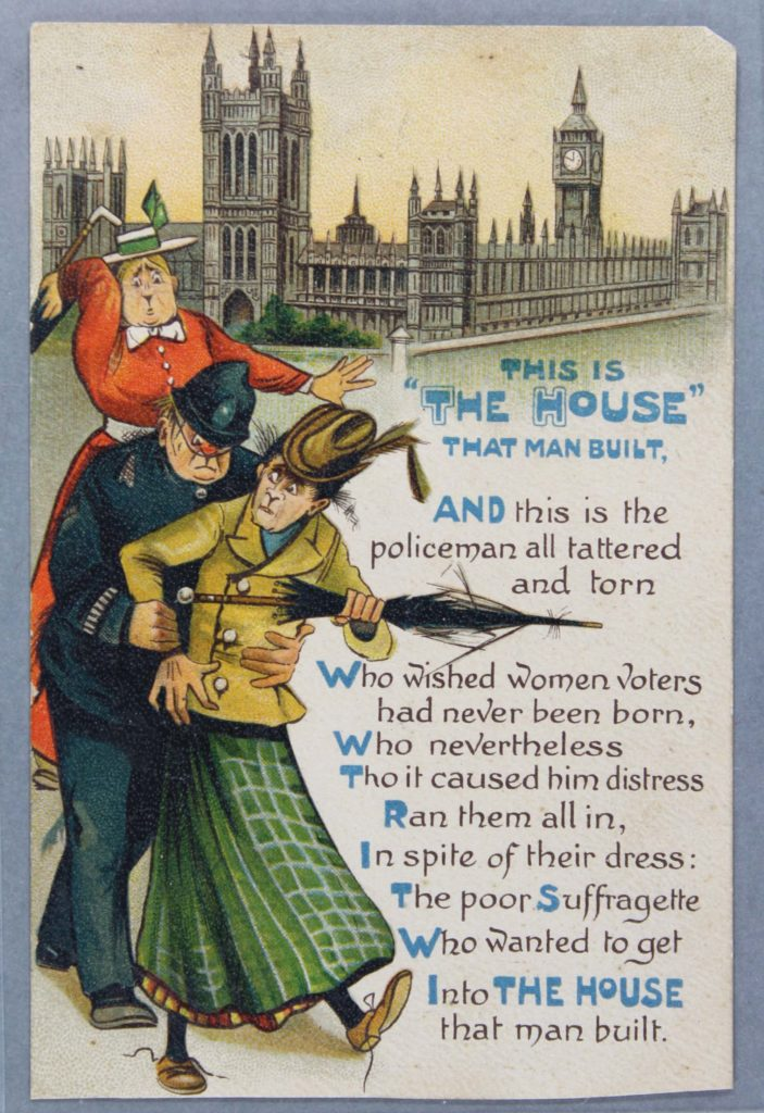 an anti suffragette postcard showing a policeman scuffling with a woman outside the Houses of Parliament