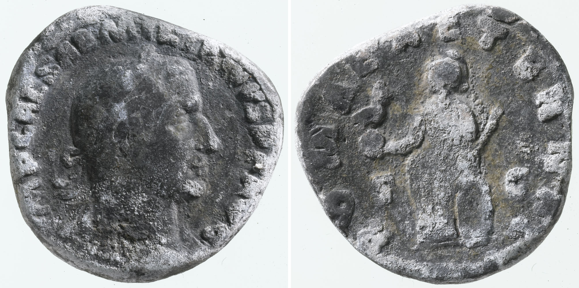 a photo of both sides of silver coloured coin with a Roman Emperor's head on one side