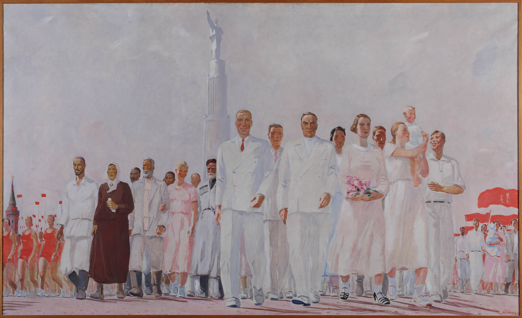 a painting of a group of people dressed in white heroically marching towards the viewer in arrow formation