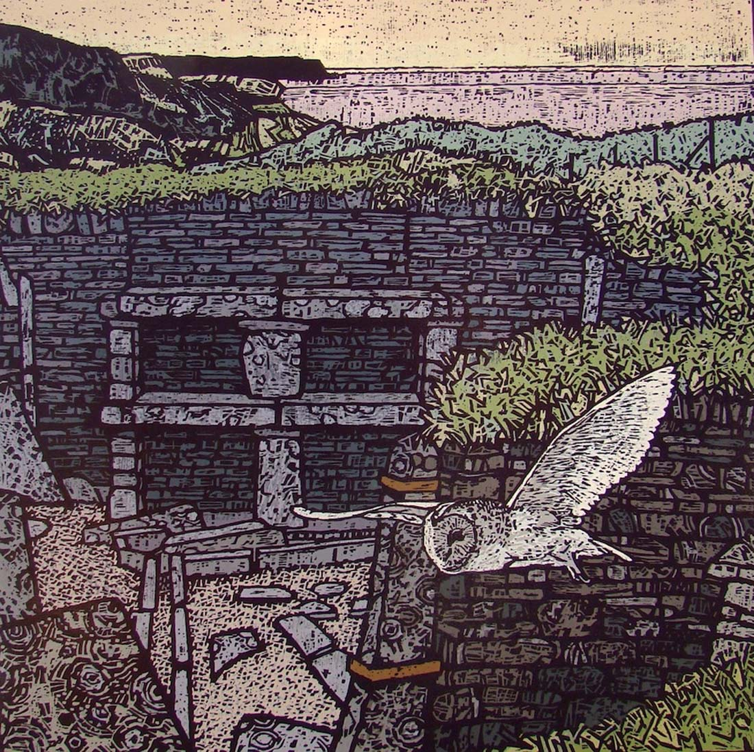 a woodcut print of an archaeological site with stone walls