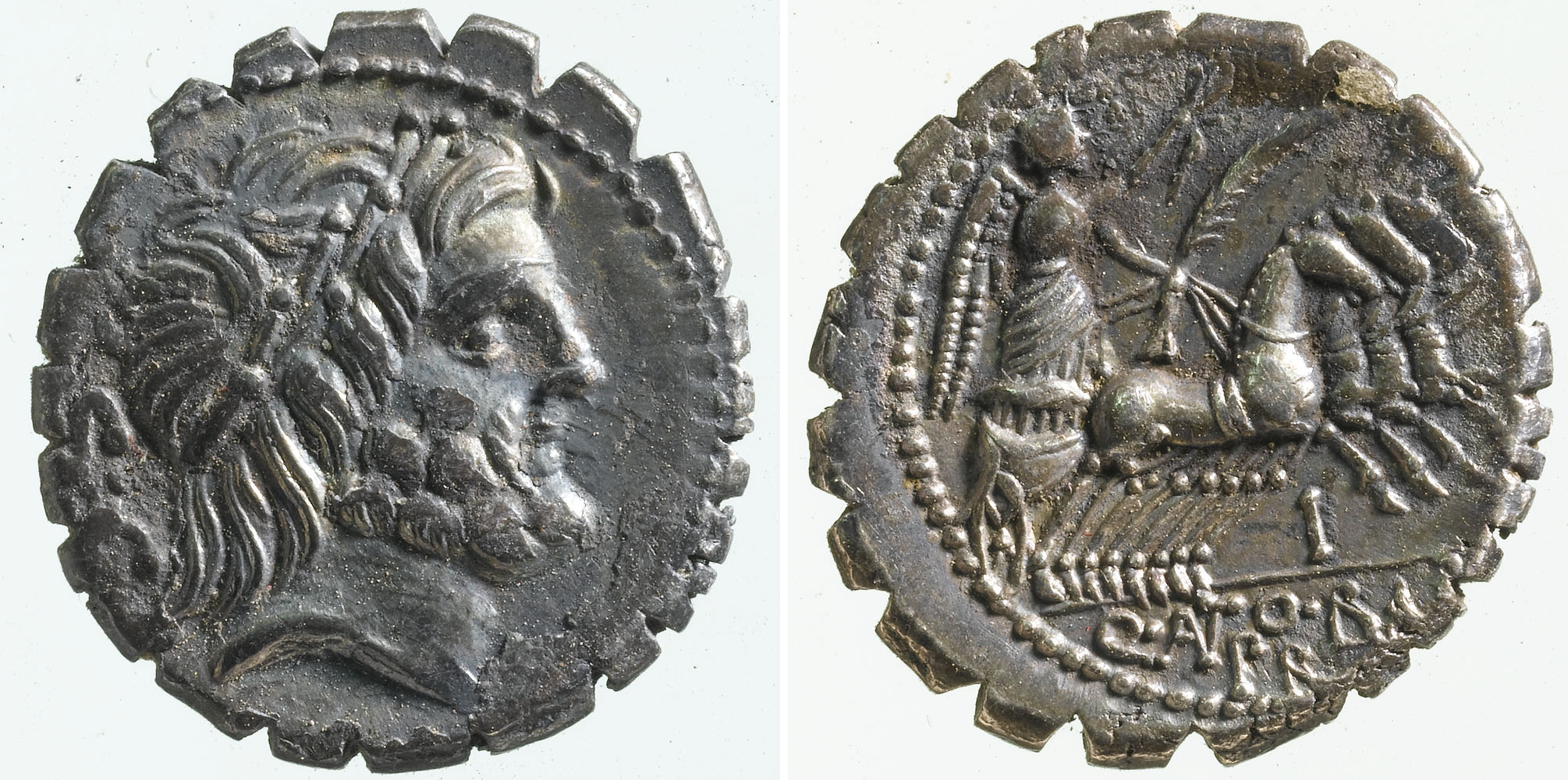 a photo of both sides of a Roman coin with the head of an emperor
