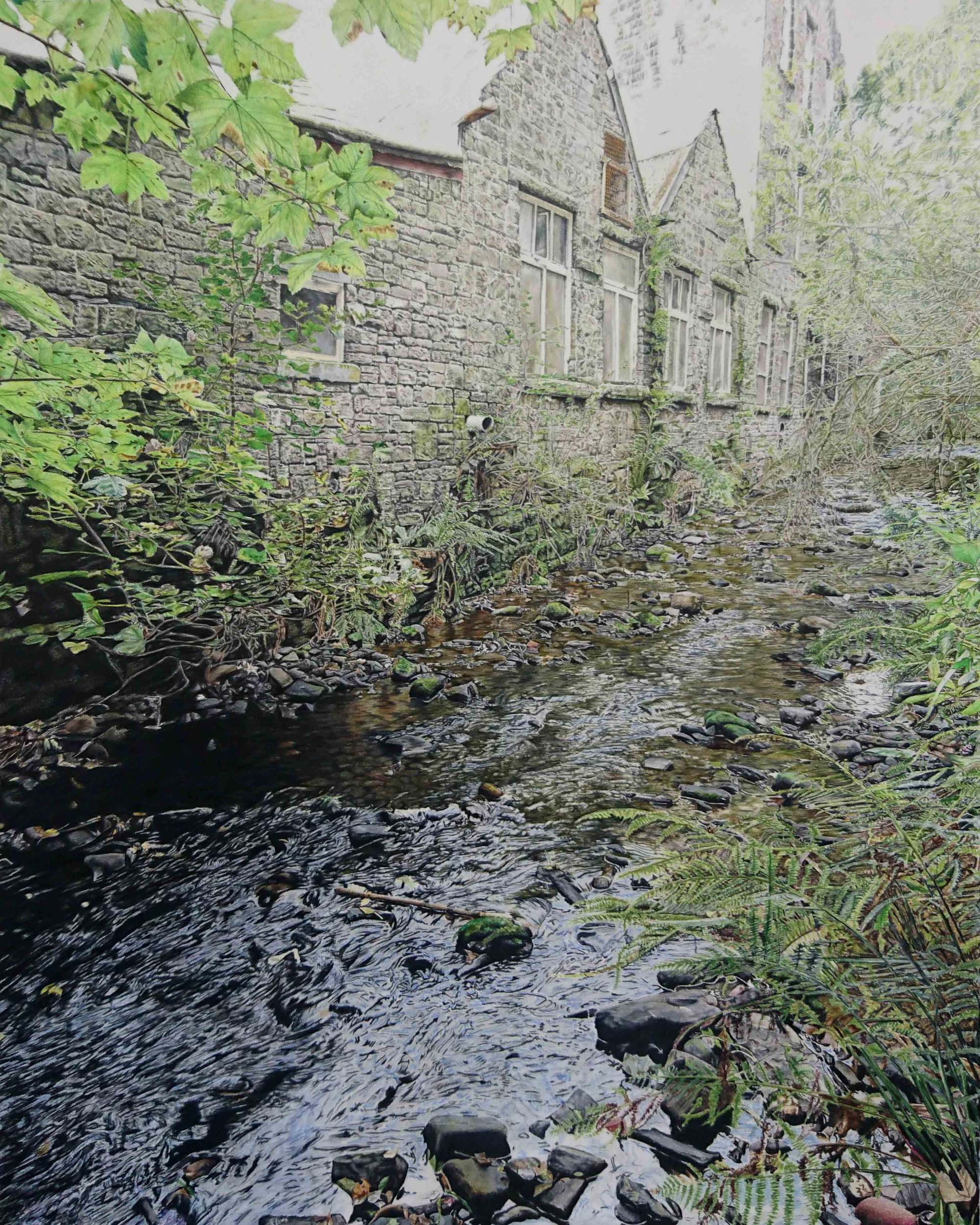 a realistic coloured pencil drawing of a river running past a brick mill building