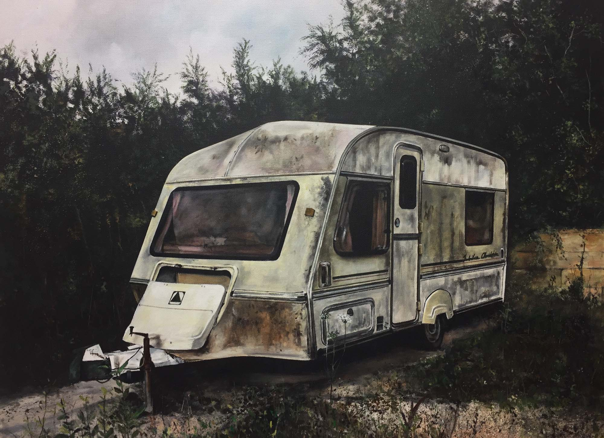 a painting of a scruffy old caravan