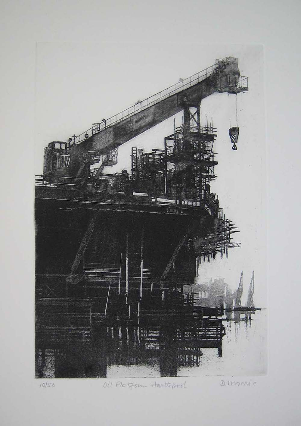 an balck and white etching showing an oil rig