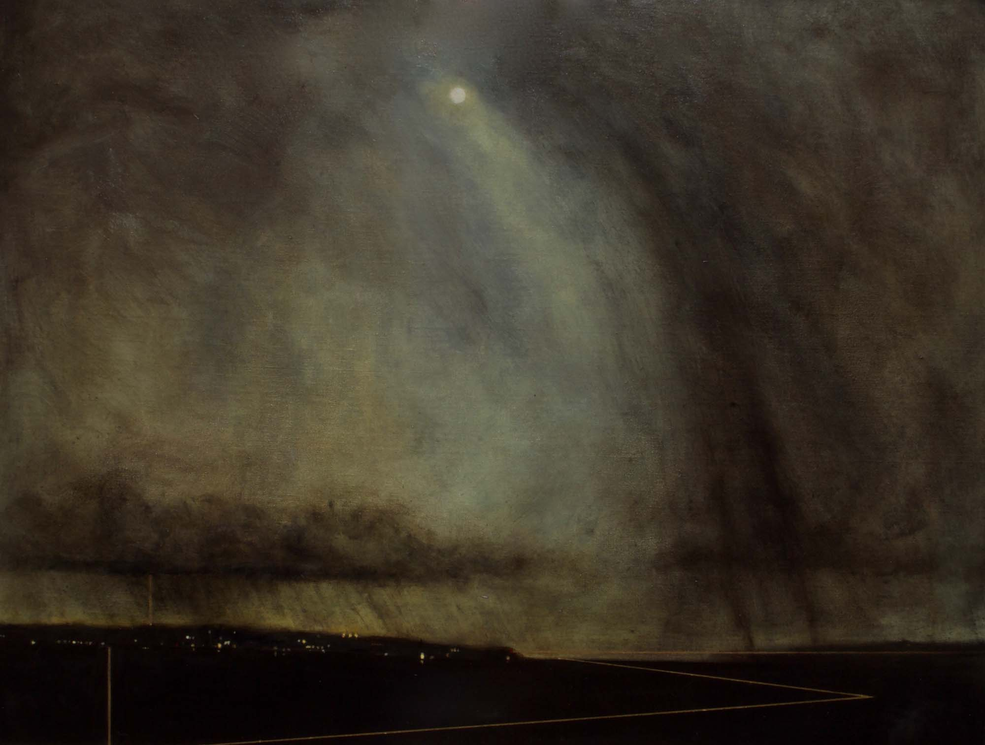 a brooding oil painting showing a moon peeping through the clouds