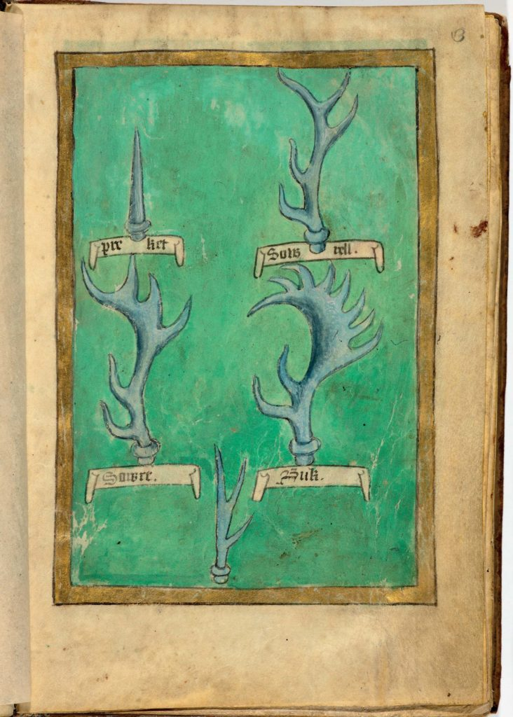 a photo of a coloured manuscript with pictures of deer antlers on it