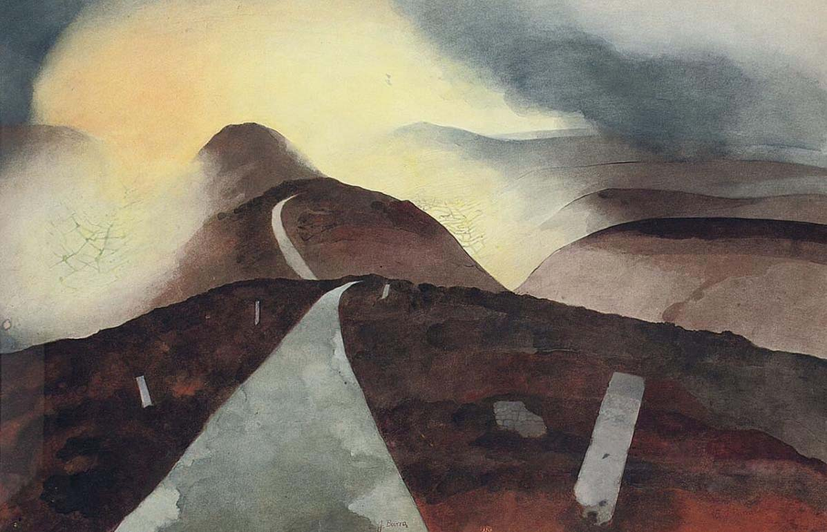 a painting of a road disappearing over hills