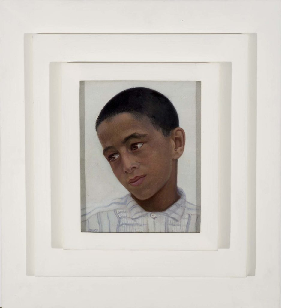 a painting of young boy with short dark hair