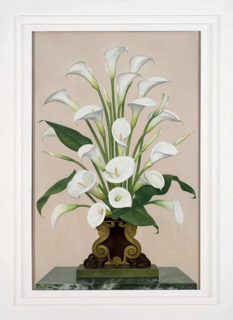 a painting of lilies in a vase