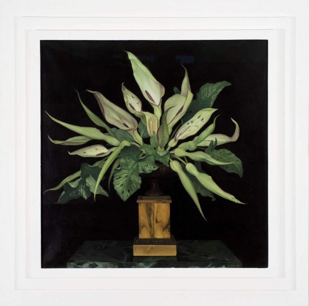 a painting of a plant with luscious green leaves in a pot