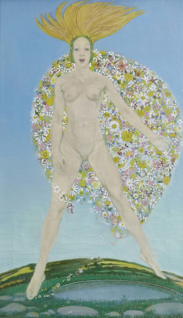 a panting of a naked woman enveloped partly in flowers as she rises above an earth like sphere